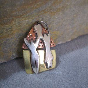 Mixed Metals Charm PARTNERS  Sterling, Copper